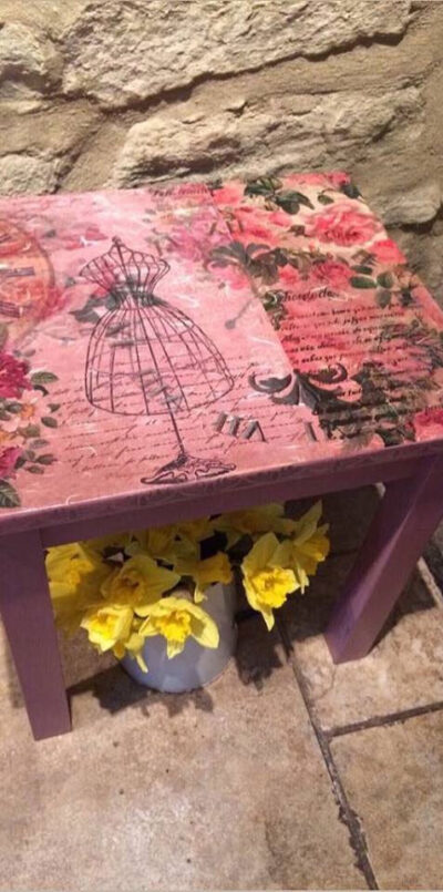 small decoupaged table painted in Frenchic Love Letter £30 / Byefield Emporium