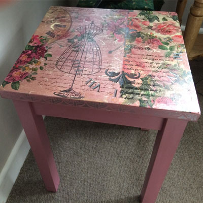 Decoupage table by Byefield Emporium