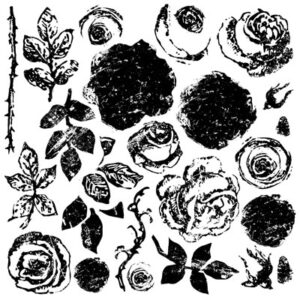 Painted Roses Decor Stamps by Iron Orchid Design