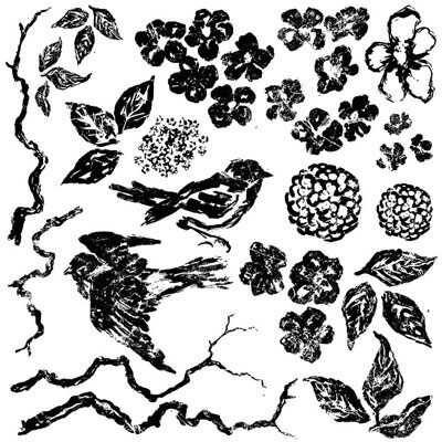 Birds and Branches Decor Stamps by Iron Orchid Design
